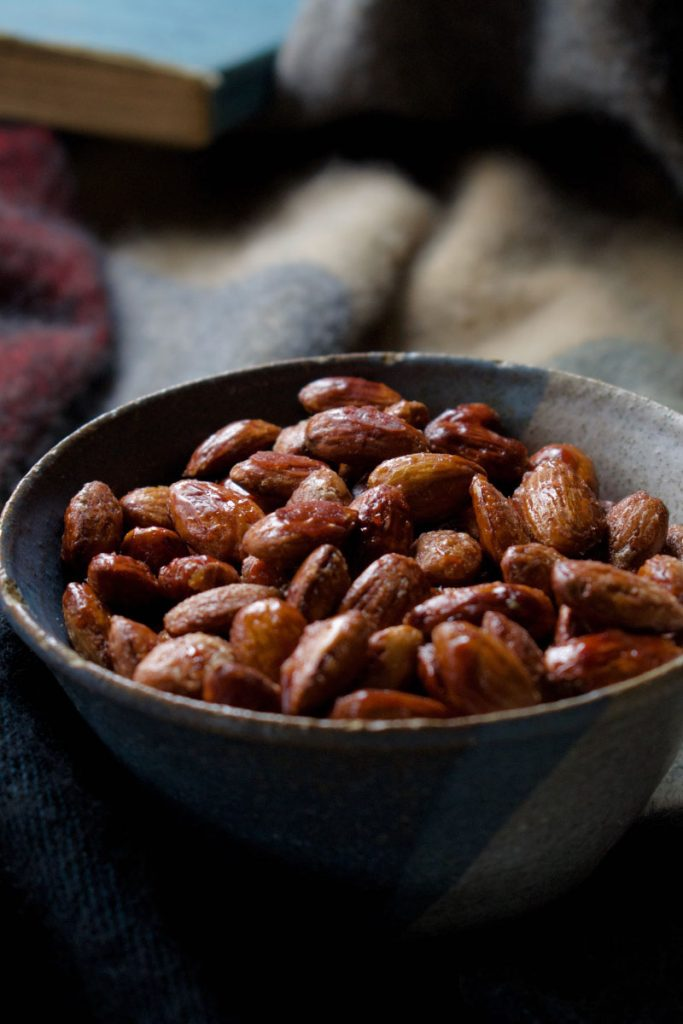 A bowl of Maple Whisky Roasted Almonds